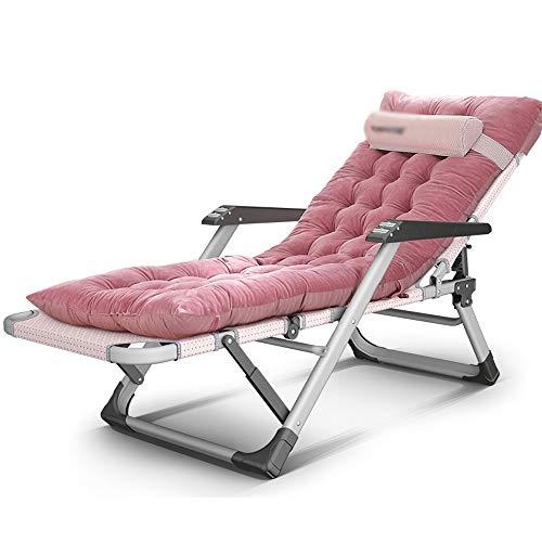 JU FU Sonnenliege Klappstuhl Sessel Mittagspause Stuhl faul Sofa 15 Datei Anpassung Flachrohr Massage Handlauf Mehrzweckstuhl mit Kissen, 2 Farben Liegen Falten (Color : Pink) - Matratze Nachricht