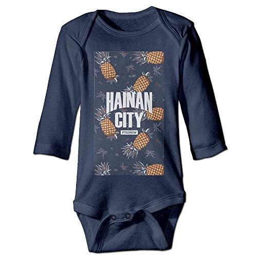 ARTOPB Unisex Newborn Bodysuits Hainan City Girls Babysuit Long Sleeve Jumpsuit Sunsuit Outfit Navy Preemie-shirt