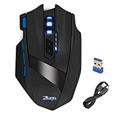 Zelotes F15 2.4G Professional Wireless Gaming Mouse with USB Receiver,4 Adjustable DPI Levels,9 Buttons Mice for Notebook,PC,Mac,Laptop,Computer,Macbook (Black)