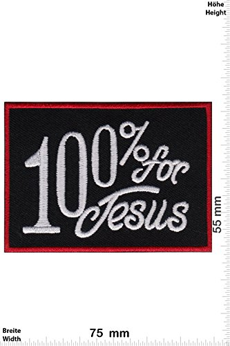 Patch-Iron-100% for Jesus - - Spirit - - Iron On Patches - Aufnäher Embleme Bügelbild Aufbügler (Patch Jesus)