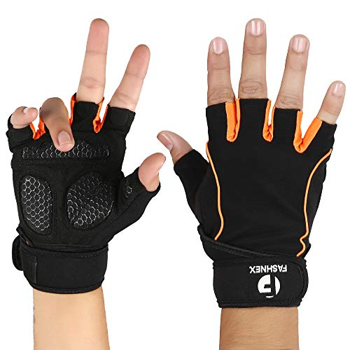 FASHNEX Gym Gloves for Weightlifting, Crossfit, Fitness and Sports with Wrist wrap Support for Men and Women (Medium)