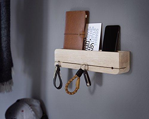 Natuhr Schlüsselbrett Ablage Holz Schlüsselhalter Schlüsselleiste (Eiche gekalkt) -