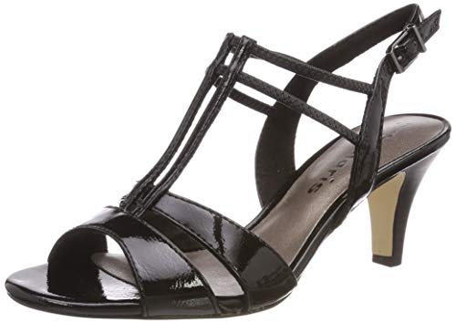 Tamaris Damen 1-1-28304-22 Riemchensandalen, Schwarz (Black PATENT 18), 37 EU 1 Black Patent Schuhe