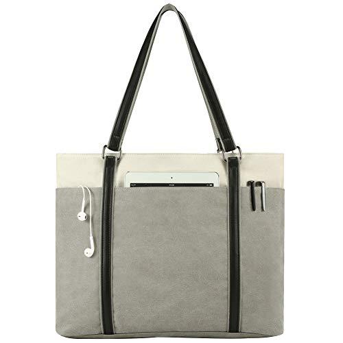 Damen Laptop-Tasche für Arbeit, leicht, Splice Canvas, 39,6 cm (15,6 Zoll) Handtasche grau grau Large