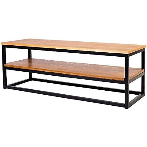 LEON Meuble TV industriel en métal époxy noir + plateau placage bois chene massif verni - L 120 cm