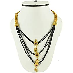Womens Trendz Handmade Plain Lambat Mani Thushi Mangalsutra Necklace With Chain for Women