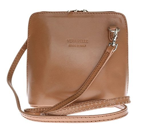 H&G Vera Pelle Trapezoid Shaped Mini Italian Real Leather Cross-Body Handbag (Red_Black) Taupe