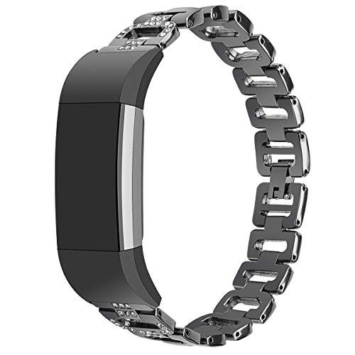 Janly Bracelets de dragonne de Montre de Luxe en métal avec Cristaux de Montre en métal de Rechange pour Charge Fitbit 2 (Noir)
