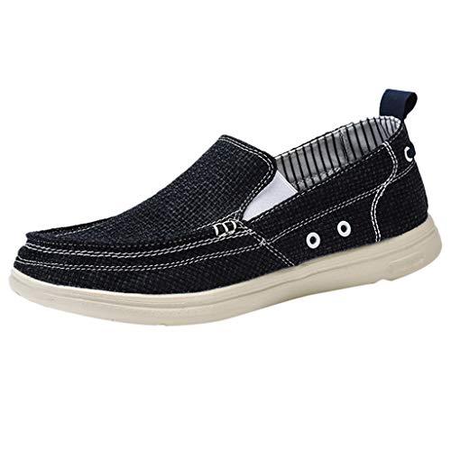 Scarpe Casual Comfort Slip On Lightweight Beach o Travel Vintage Fashion Shoes Scarpe di Tela all'aperto Scarpe da Uomo Estate Scarpe Pigri (40 EU,Nero)