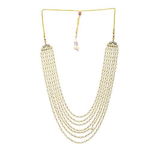 Sanjog Embellished Premium Off White Long Pearl Jewelry Necklace Pearl Men Groom for Wedding Wear(Dule Ki Mala)
