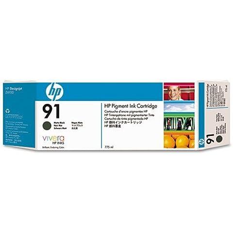 HP Cartucho de tinta negra mate de pigmento HP 91 de 775 ml 91 Ink Cartridges, de 15 a 35 °C, 1.09 kg (2.4