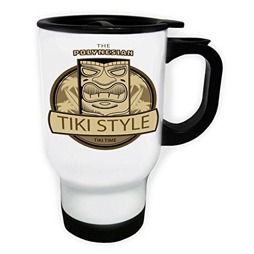 Aloha Tiki Polynesische Maske Weiß Thermischer Reisebecher 14oz 400ml Becher Tasse o732tw
