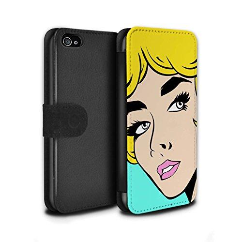 Stuff4 Coque/Etui/Housse Cuir PU Case/Cover pour Apple iPhone 4/4S / Pack 5pcs Design / BD Illustrés Filles Collection Cheveux Blond