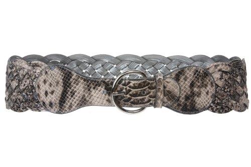beltiscool 3cm de ancho/de piel de serpiente Snake print tejido trenzado de alta cintura cinturón - Gris -