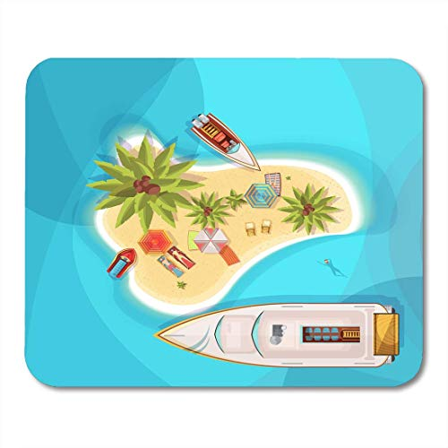 Mouse Pads Exotic Aqua Island Beach Top View with Blue Sea People on Loungers Under Parasols Boats Palm Trees Bike Mouse Pad for Notebooks,Desktop Computers Office Supplies -