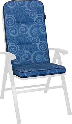 Angerer Stuhlauflage, Exklusiv Sesselpolster hoch Design Santorin, blau, 120x50x7 cm, 1024/096