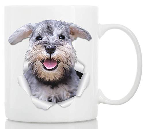 Lächelnder Schnauzer Tasse - Keramik grau Schnauzer Kaffeetasse - Perfekte Schnauzer Geschenke - Lustige süße Schnauzer Kaffeetasse für Hundeliebhaber und Besitzer 11oz weiß