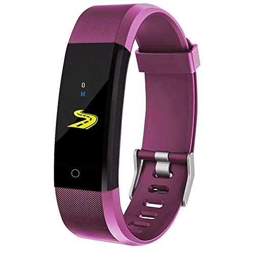 Fitness-Uhr für Kinder, Frauen, Männer, Aktivitäts-Tracker mit Schrittzähler Kalorienzähler Schlafmonitor, Anruf- / SMS-Erinnerung, Fitness-Tracker für Android iOS (Purple)