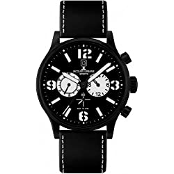 Jacques Lemans Porto 1-1659A Men's Chronograph Black Leather Strap Watch