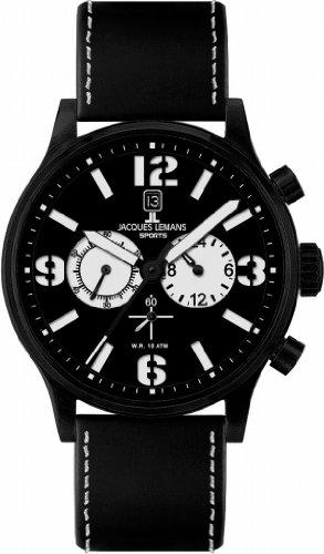 Jacques Lemans Sports Herren-Armbanduhr XL Porto Chronograph Leder 1-1659A