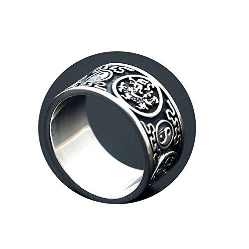 SonMo 12MM Vintage Silber 925 Ring China Zing und Yang Maskottchen Gravur Männer Ring Herr Der Ringe Ringe Silber Set Man Punk Ring Größe:57 (18.1)