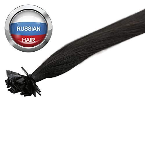 Extensions Cheveux Kératine 100 mèches russes 1gr Noir Clair 50cm