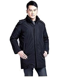 Queenshiny Short Men's Down Coat Jacket white duck down filling detachable liner hood&collar uk sizeM-XXL