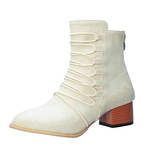 LILIHOT Mode Reine Farbe Spitz ReißVerschluss Stiefel Chunky Heels Vintage Frauen Stiefelt Damen Winter Elegant Klassisch Solid Mit Stil Wildleder Stoff Hohe Stiefeletten Schuhe