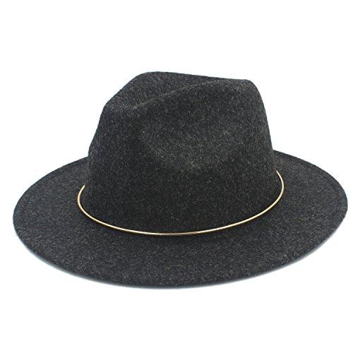 Sunhat-TX Hut - Frauen Männer Chapeu Feminino Fedora Hut Für Gentleman Elegante Dame Gold Breiter Krempe Jazz Kirche Cap Panama (Farbe : 3, Größe : 57-58 cm)