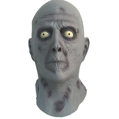 WHFDRHWSJMJ Halloween Maske LED Light Horror Maske Latex Super Scary Schädel Halloween Ungiftig Latex Maske Vollgesichts Erwachsene Atmungsaktive Maskerade Kostümparty Cosplay Kostüm Maske, (Super Scary Kostüm Für Halloween)