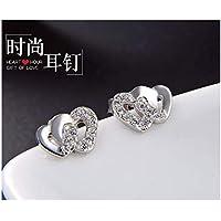 dc4a8acf1686 MTWTM Pure Silver Ear Clavos Femenino Aretes Sencillo Bi-Heart Diamond  Insertar Regalo para El