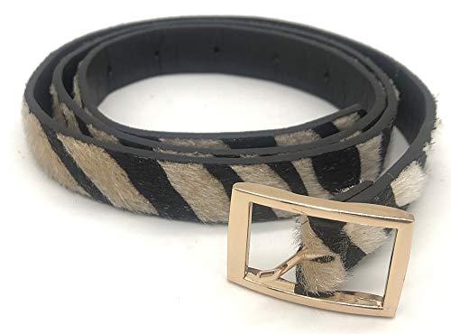 Dielay - Cinturón de piel sintética para mujer, diseño de animales cebra 78