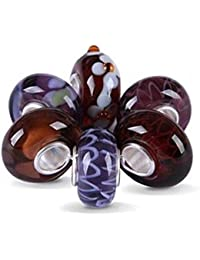 Bling Jewelry Amethyst simulé Murano Glass Bead Sets Sterling