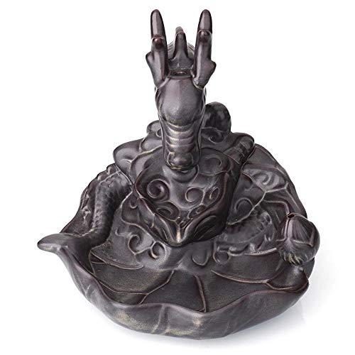 Sinzong Rückfluss Weihrauchhalter Keramik Drachen Weihrauch Brenner Rauch Wasserfall Räuchergefäß Rückfluss Räucherstäbchenhalter Meditation Home Zen Decor (Drache Weihrauch-brenner)