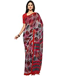 Vaamsi Women's Chiffon Saree With Blouse Piece(Empress1056_Multicolor_Free Size)