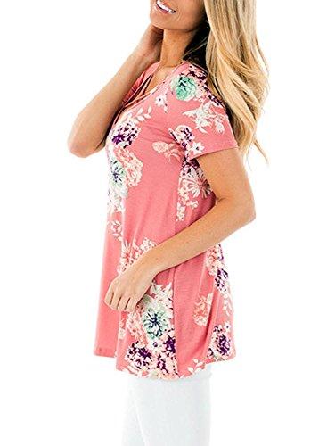 Minetom Donna Moda Casual Elegante Stampa Camicetta Blusa Collo Frontale Crisscross V Manica Corta Senza Spalline Camicie Tops T-shirt Pink