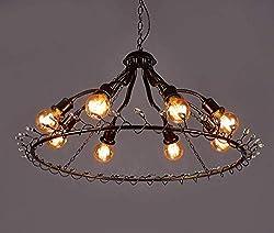 BERGHT Retro Pendelleuchte Hängeleuchte Kristall Anhänger Kronleuchter Vintage Industriell Runde Lampe E27 Antik Eisen Dekorative Esszimmerlampe Loft Bar Café Esstisch Wohnzimmer Kronleuchter