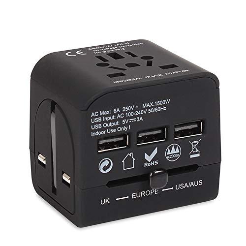 PICKME Weltweit Universal-6A Travel Adapter - Die Leistungsfähige & Sicherst All in One Earthed Internationaler Wall Charger - 3 USB-Ports - 150+ Länder