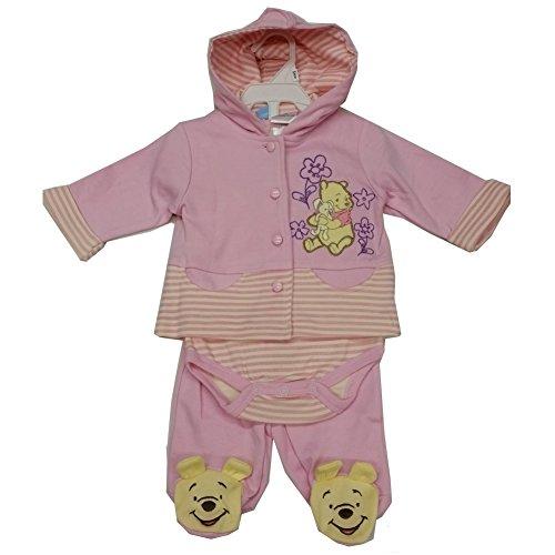 rosa Winnie the Pooh Kapuzen Top Einteiler 3PC Hose Set 3–9m, Pink (Winnie The Pooh Baby-outfit)