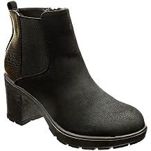 Angkorly - Zapatillas de Moda Botines chelsea boots zapatillas de plataforma altas mujer piel de serpiente leopardo Talón Tacón ancho alto 6.5 CM - Negro