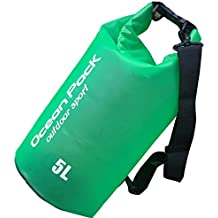 Bolsas estancas-SHOBDW,Peso ligero de Bolsa Seca Impermeable Con correa de hombro ajustable de Bolsas estancas (Verde, 2L)