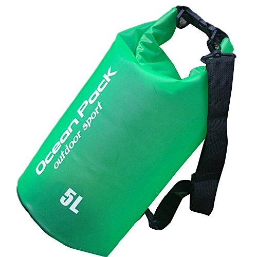 5L-/10L/15L/20L Premium wasserdichte Tasche, Dry Bag und lang inklusive verstellbarer Schulterriemen, perfekt für Kajak/Bootsleine/Kanu/Angeln/Rafting/Schwimmen/Camping/Snowboarden (5 L, Grün)
