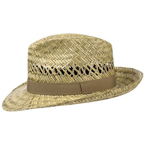 Lipodo Classic Fedora Strohhut | Sommerhut Made in Italy | Bogarthut mit Ripsbandgarnitur | Sonnenhut Frhjahr/Sommer | Hut aus Stroh Natur M (56-57 cm)