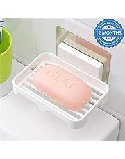 HOKIPO Plastic Magic Sticker Series Self-Adhesive Waterproof Kitchen Bathroom Soap Holder (White)
