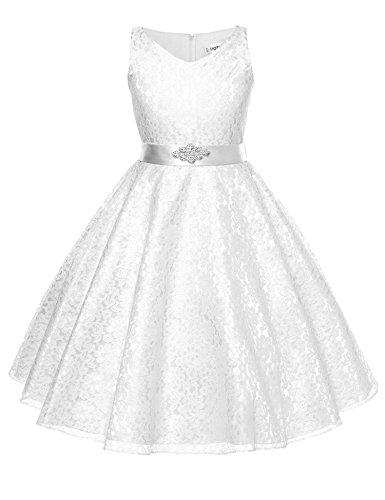 HOTOUCH Mädchen Kinder Spitze Gaze Blume Bowknot Kleider Blumenmädchenkleider Hochzeitskleid...