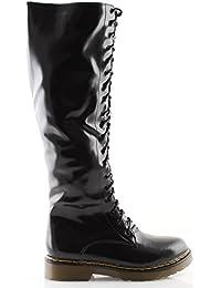Stivali Anfibi donna alti eco pelle neri stivaletti scarpe anfibi invernali 67c1c683b05