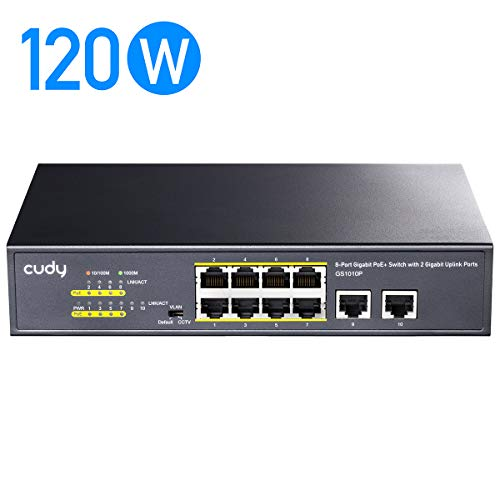 Cudy GS1010P 8+2-Port Gigabit Ethernet PoE+ Unmanaged Plug-and-Play Switch,120 W, 8 * 10/100/1000 Mbit/s PoE+ Ports, CCTV/VLAN-Modus, 802.3af/ 802.3at