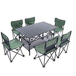 LCTZDY Mesa de Camping con 6 taburetes. Juego de Picnic portátil. 94x55x53cm. Maletín Plegable. Mesa de Camping de Color Verde Claro con sillas para Fiesta en el jardín/BBQ / Trabajo/Tarea - Inter