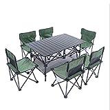 LCTZDY Campingtisch inkl. 6 Hocker tragbares Picknick-Set 94x55x53cm Klapp-Aktentasche Größe Hellgrün Campingtisch mit Stühlen für Gartenparty/BBQ / Arbeit/Hausaufgaben - Indoor Outdoor
