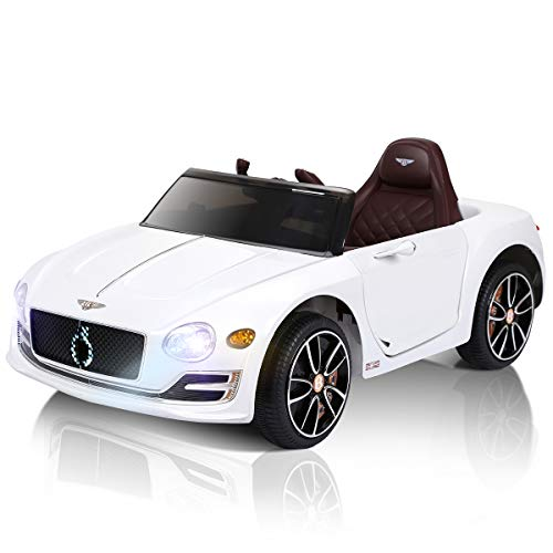 COSTWAY 12V Electric Kids Ride On Car of Bentley Licensed EXP12, 2.4GHZ Parental Remote Control Roadster Toy with Headlights & MP3 Music Player, Safety Seat Belt, Door Lock, Pedal, White